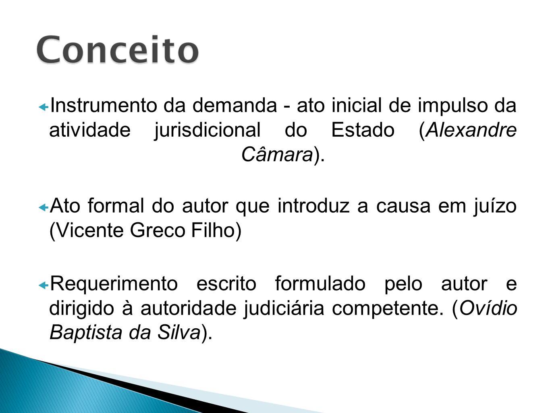 Instrumento da demanda - ato inicial de impulso da atividade jurisdicional do Estado (Alexandre Câmara).