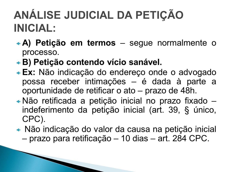 ANÁLISE JUDICIAL DA PETIÇÃO INICIAL: