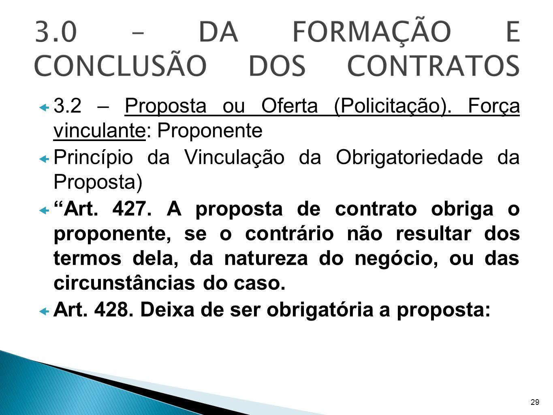 3.2 – Proposta ou Oferta (Policitação). Força vinculante: Proponente