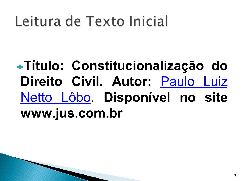 Título: Constitucionalização do Direito Civil