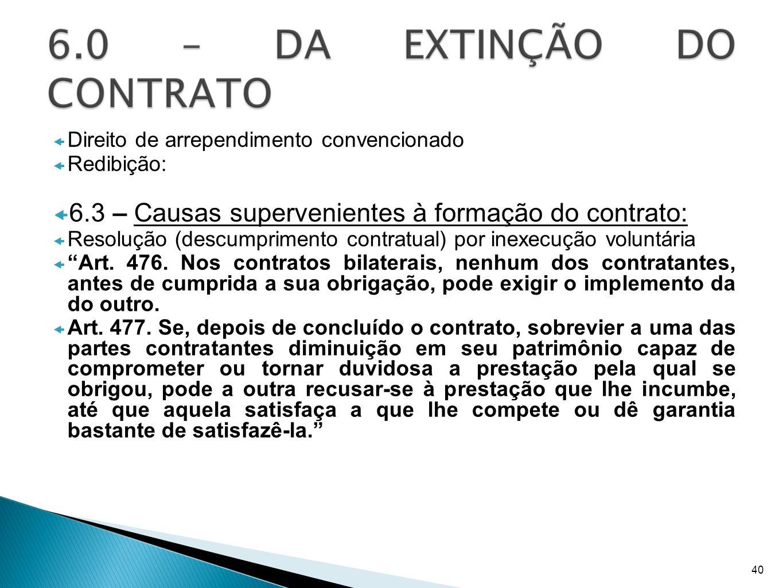 6.3 – Causas supervenientes à formação do contrato:
