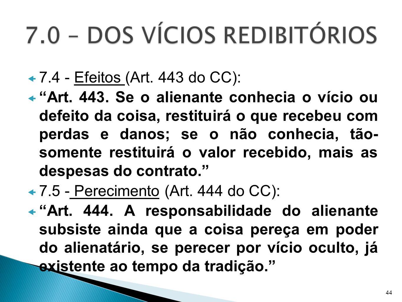 7.5 - Perecimento (Art. 444 do CC):