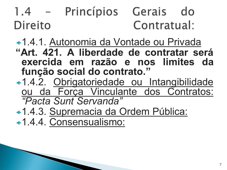 1.4.1. Autonomia da Vontade ou Privada