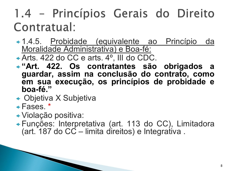 Arts. 422 do CC e arts. 4º, III do CDC.