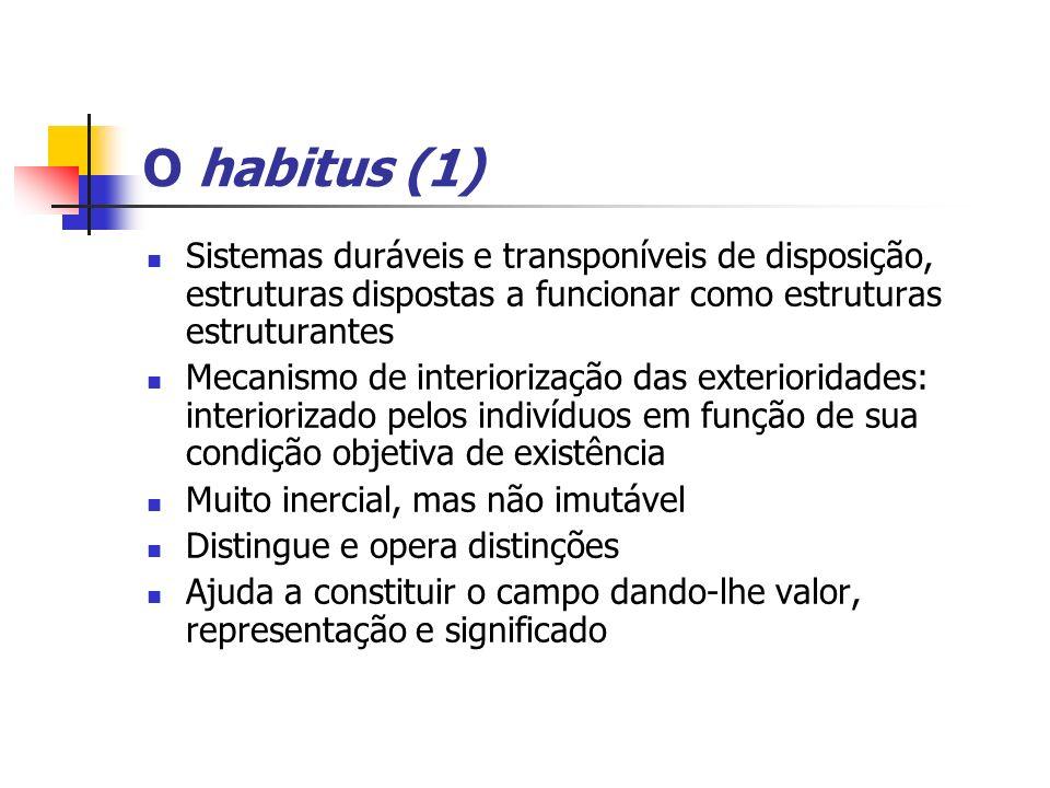 O habitus (1) Sistemas duráveis e transponíveis de disposição, estruturas dispostas a funcionar como estruturas estruturantes.
