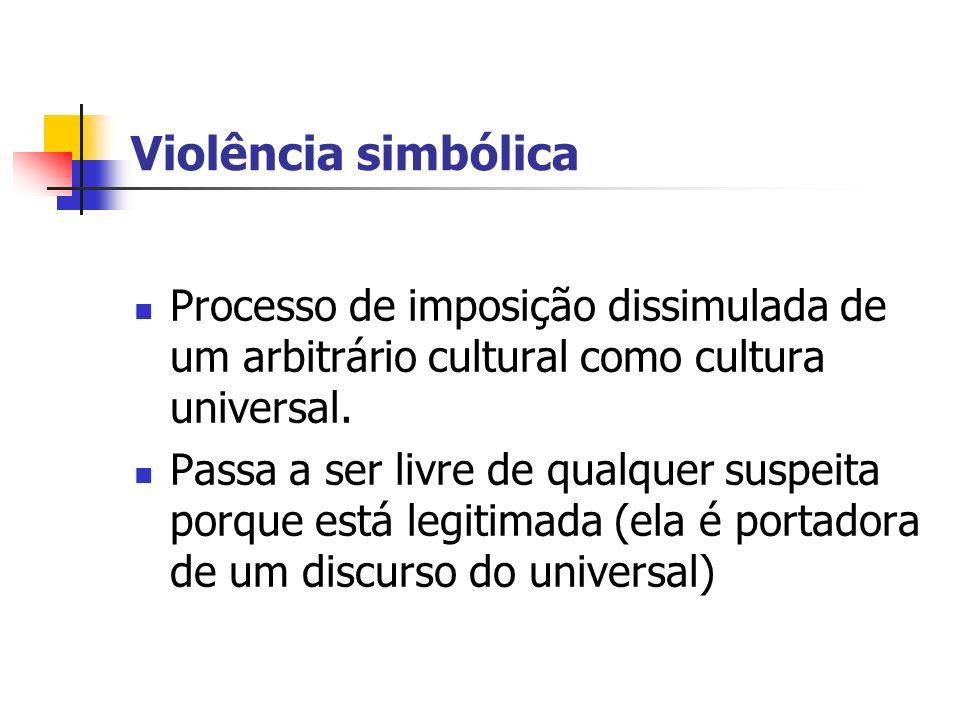 Violência simbólica Processo de imposição dissimulada de um arbitrário cultural como cultura universal.
