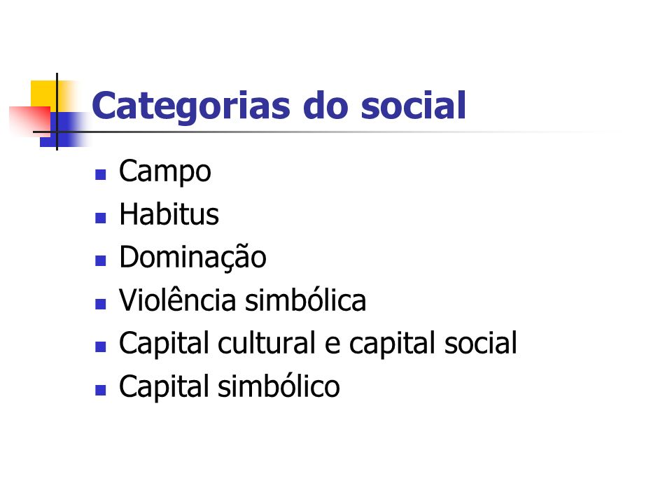 Categorias do social Campo Habitus Dominação Violência simbólica