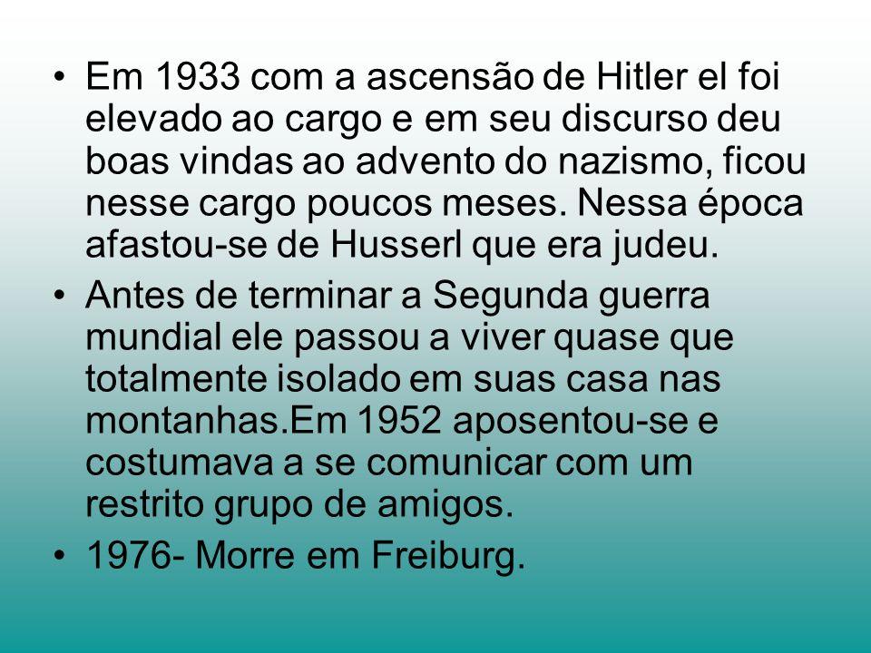 Em 1933 com a ascensão de Hitler el foi elevado ao cargo e em seu discurso deu boas vindas ao advento do nazismo, ficou nesse cargo poucos meses. Nessa época afastou-se de Husserl que era judeu.