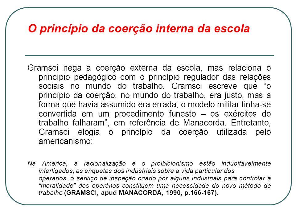 O princípio da coerção interna da escola