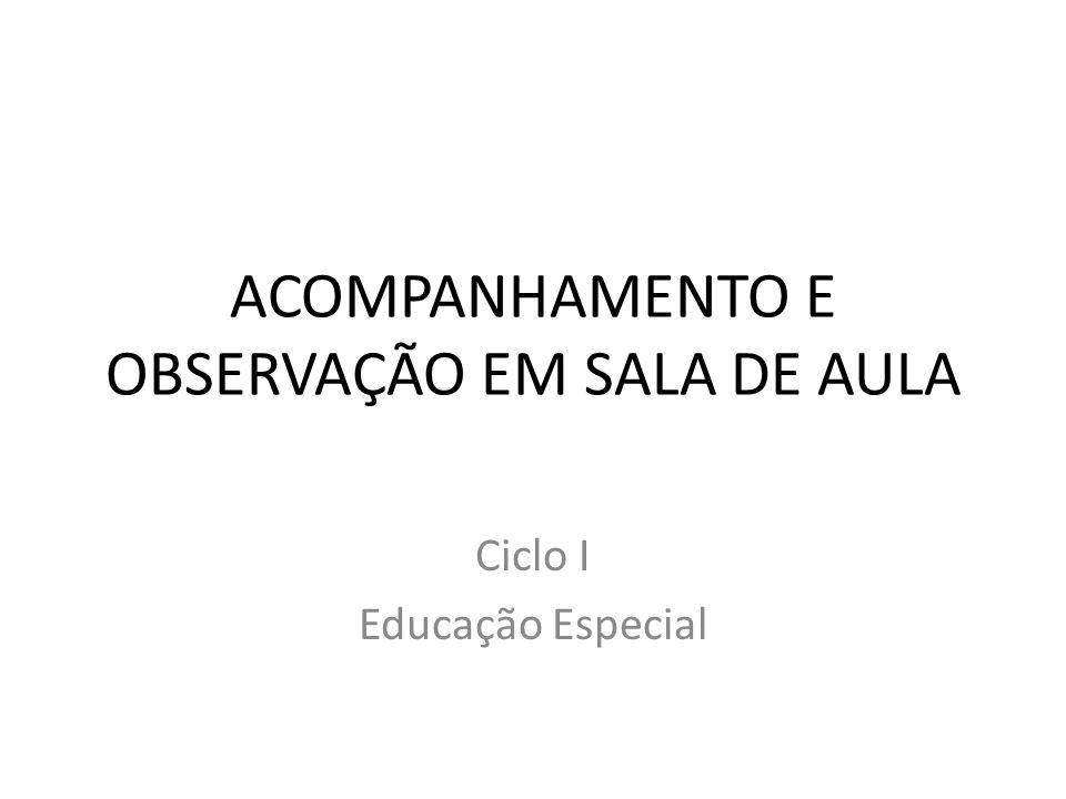 ACOMPANHAMENTO E OBSERVAÇÃO EM SALA DE AULA