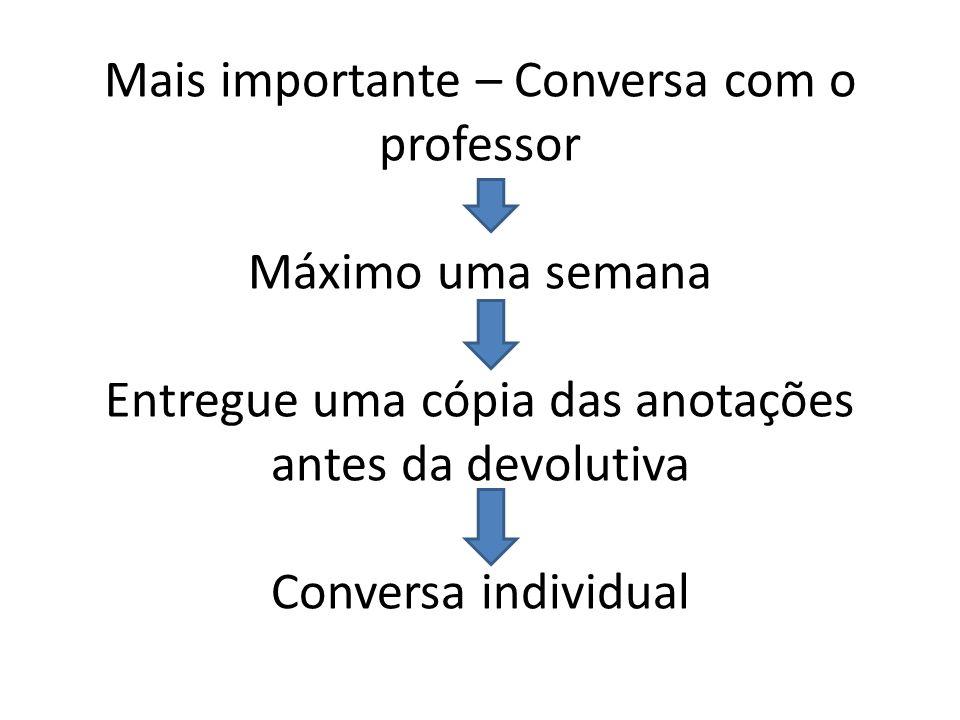 Mais importante – Conversa com o professor Máximo uma semana Entregue uma cópia das anotações antes da devolutiva Conversa individual
