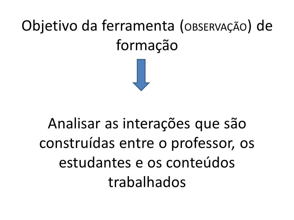Objetivo da ferramenta (OBSERVAÇÃO) de formação Analisar as interações que são construídas entre o professor, os estudantes e os conteúdos trabalhados