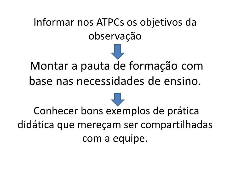 Informar nos ATPCs os objetivos da observação Montar a pauta de formação com base nas necessidades de ensino.