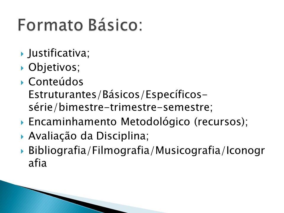 Formato Básico: Justificativa; Objetivos;