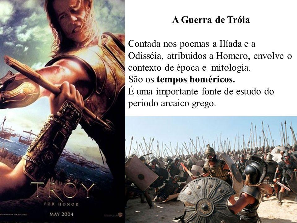 A Guerra de TróiaContada nos poemas a Ilíada e a Odisséia, atribuídos a Homero, envolve o contexto de época e mitologia.