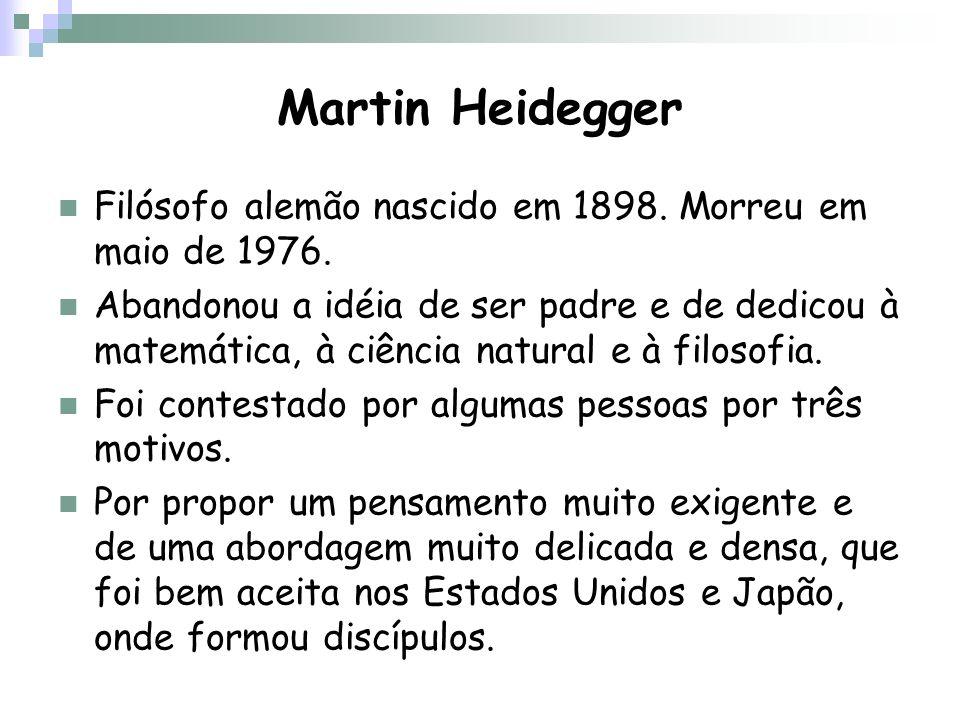 Martin Heidegger Filósofo alemão nascido em 1898. Morreu em maio de 1976.