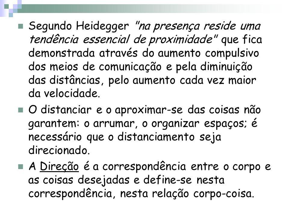 Segundo Heidegger na presença reside uma tendência essencial de proximidade que fica demonstrada através do aumento compulsivo dos meios de comunicação e pela diminuição das distâncias, pelo aumento cada vez maior da velocidade.
