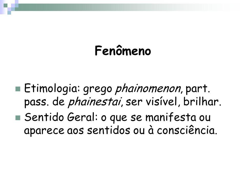 Fenômeno Etimologia: grego phainomenon, part. pass. de phainestai, ser visível, brilhar.