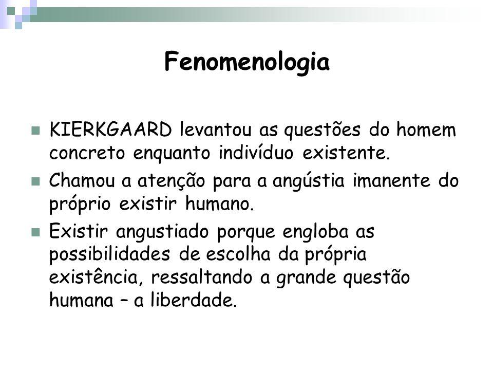 Fenomenologia KIERKGAARD levantou as questões do homem concreto enquanto indivíduo existente.