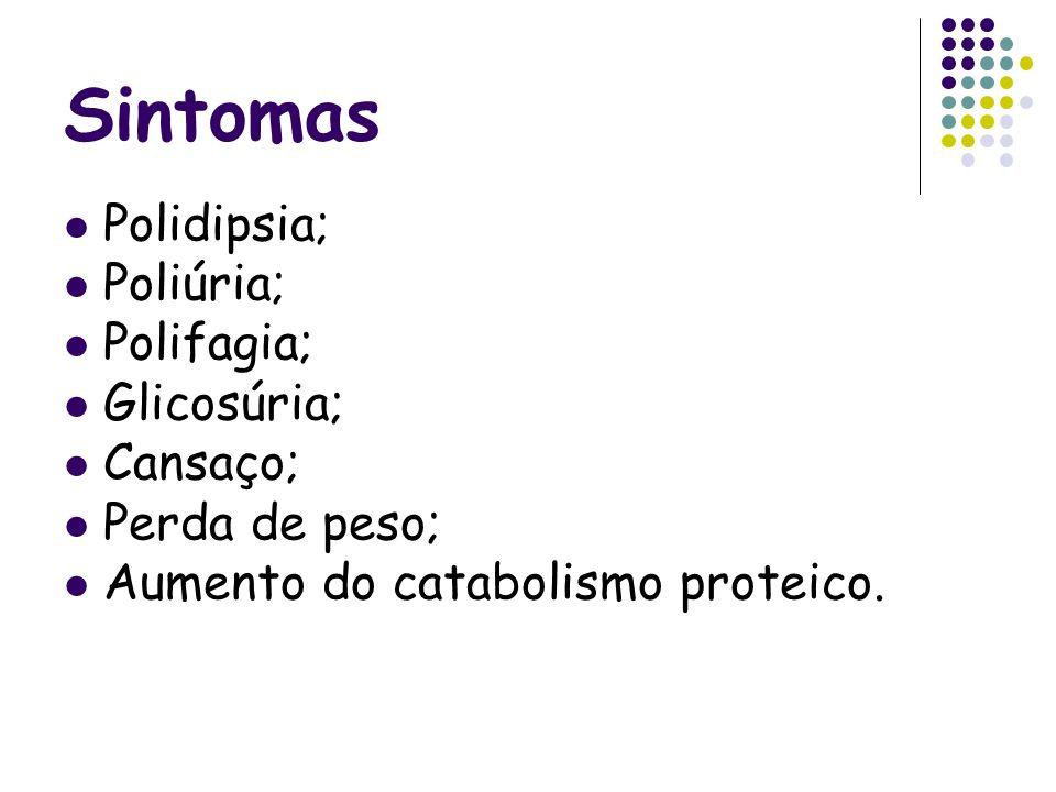 Sintomas Polidipsia; Poliúria; Polifagia; Glicosúria; Cansaço;