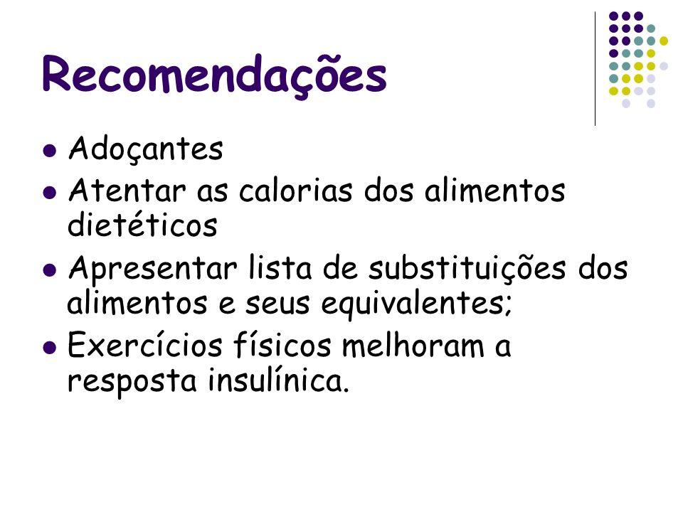 Recomendações Adoçantes Atentar as calorias dos alimentos dietéticos