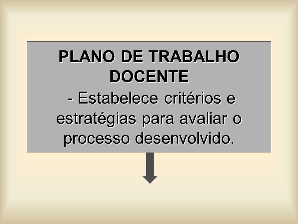 PLANO DE TRABALHO DOCENTE - Estabelece critérios e estratégias para avaliar o processo desenvolvido.