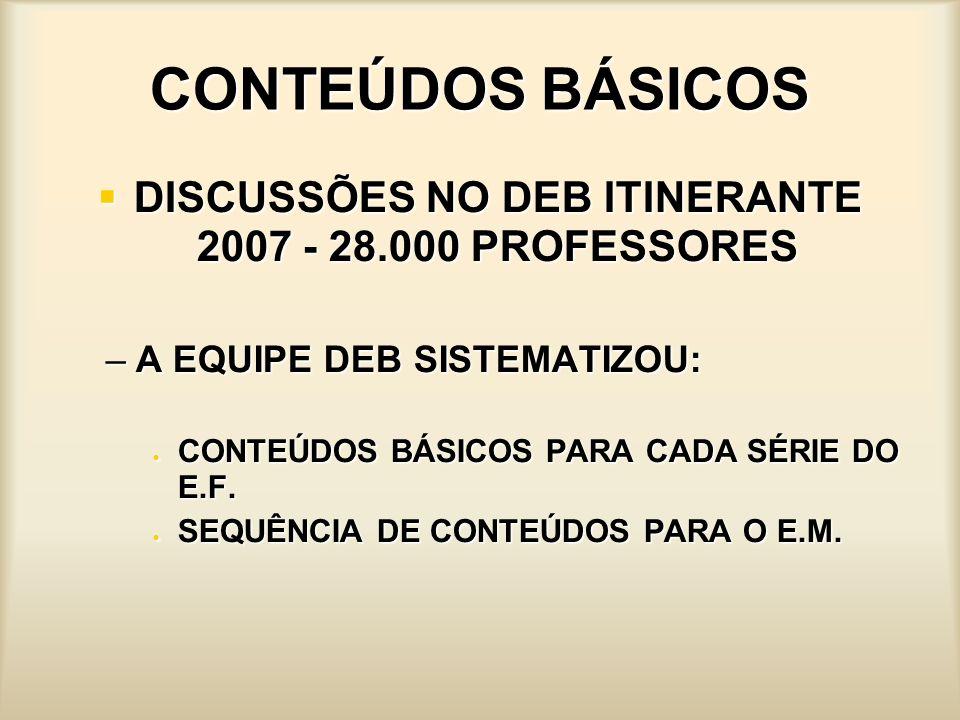 DISCUSSÕES NO DEB ITINERANTE 2007 - 28.000 PROFESSORES