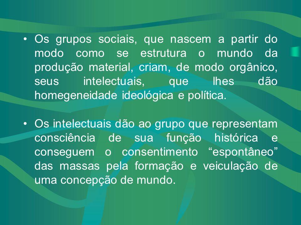 Os grupos sociais, que nascem a partir do modo como se estrutura o mundo da produção material, criam, de modo orgânico, seus intelectuais, que lhes dão homegeneidade ideológica e política.