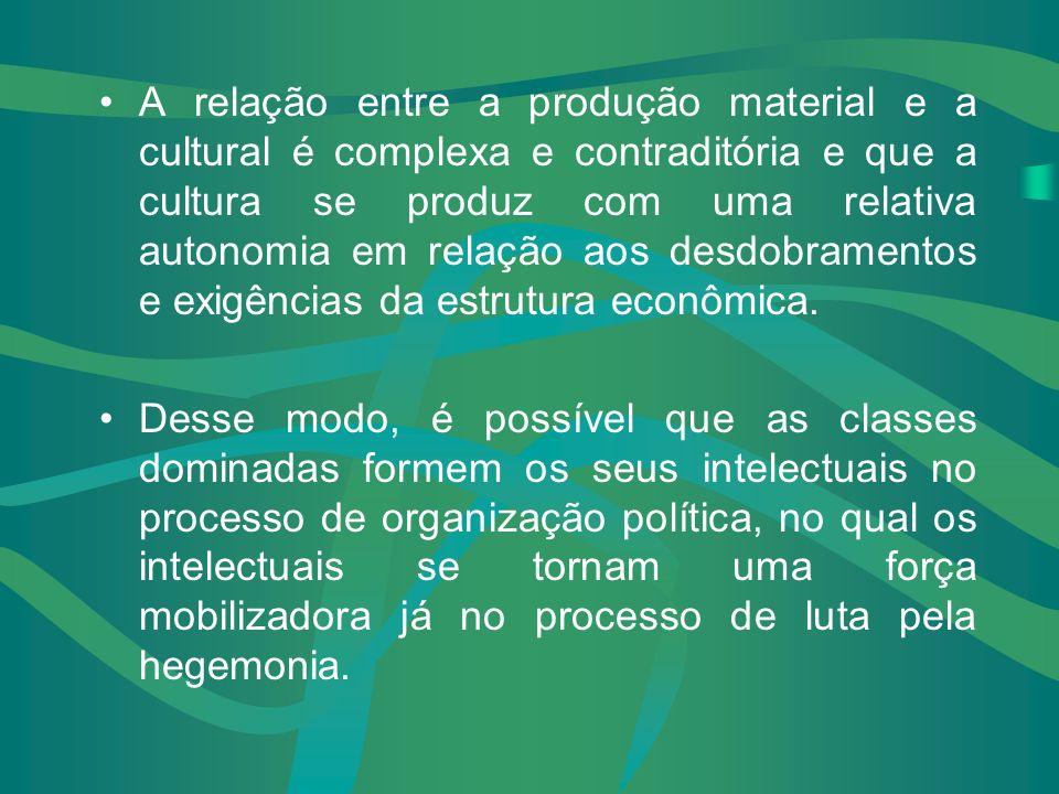 A relação entre a produção material e a cultural é complexa e contraditória e que a cultura se produz com uma relativa autonomia em relação aos desdobramentos e exigências da estrutura econômica.