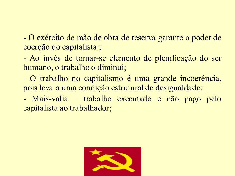 - O exército de mão de obra de reserva garante o poder de coerção do capitalista ;