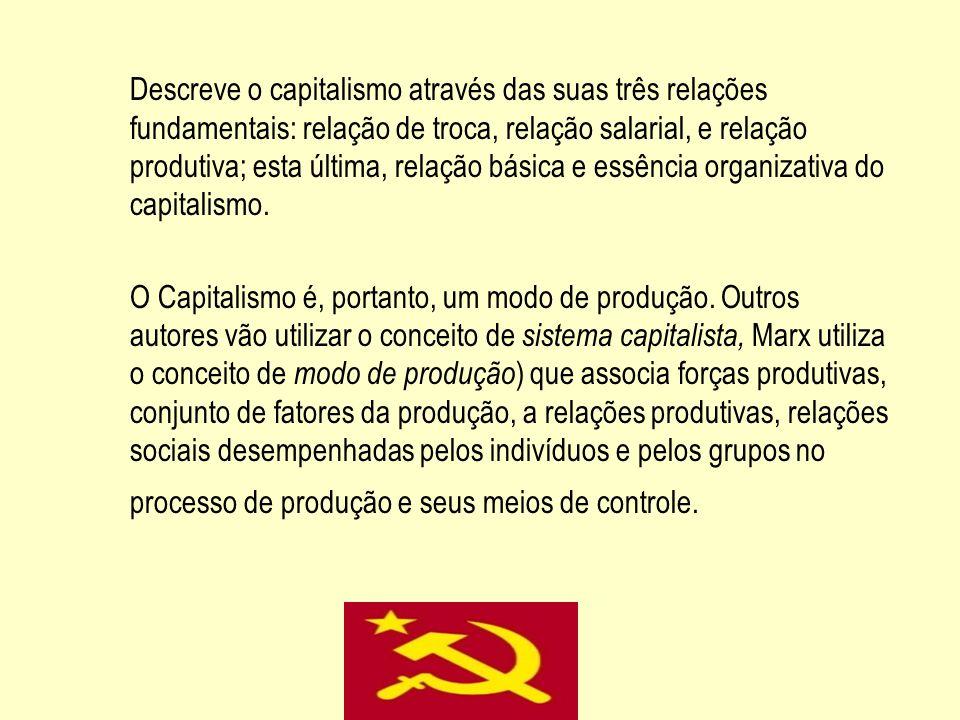 Descreve o capitalismo através das suas três relações fundamentais: relação de troca, relação salarial, e relação produtiva; esta última, relação básica e essência organizativa do capitalismo.