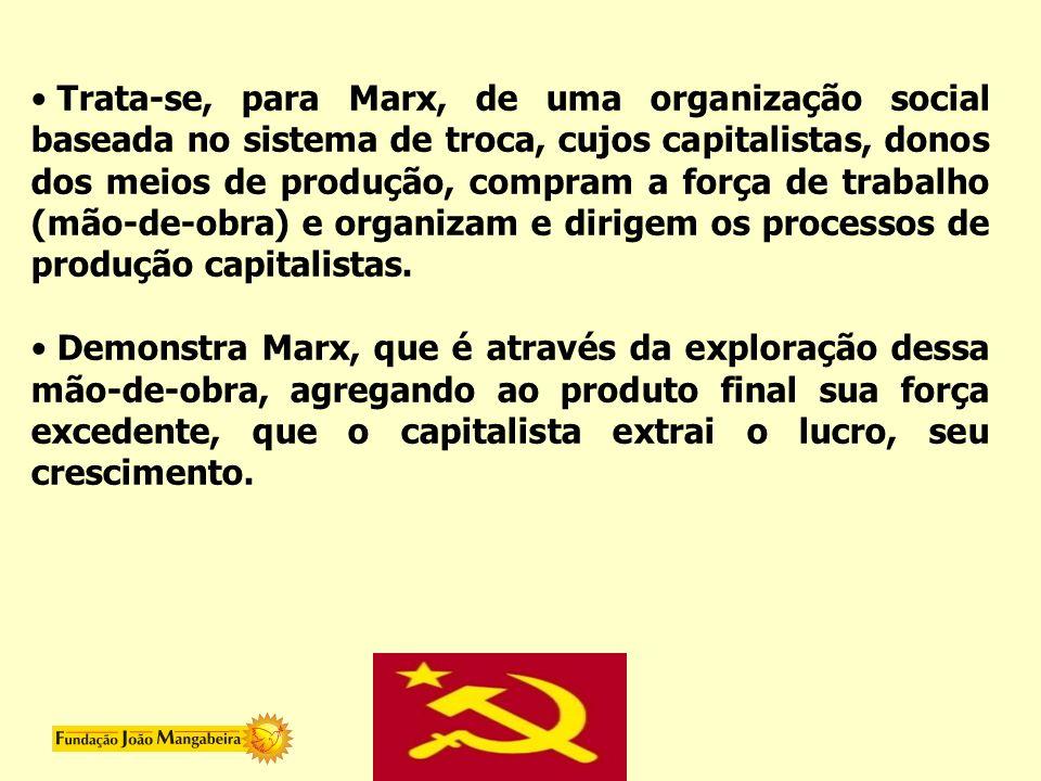 Trata-se, para Marx, de uma organização social baseada no sistema de troca, cujos capitalistas, donos dos meios de produção, compram a força de trabalho (mão-de-obra) e organizam e dirigem os processos de produção capitalistas.