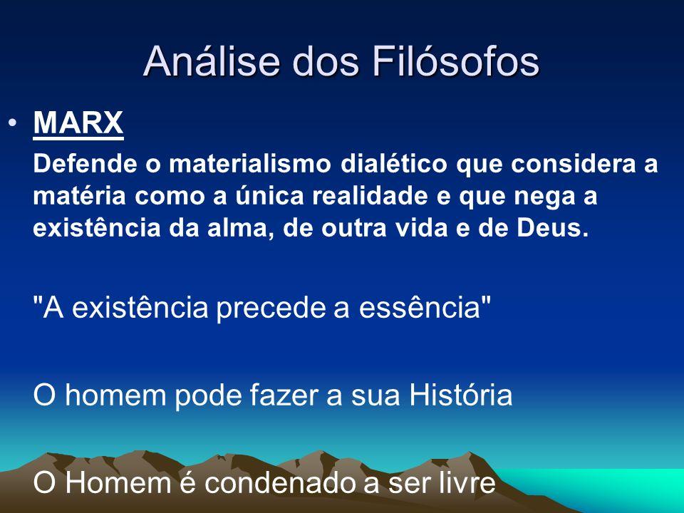 Análise dos Filósofos MARX A existência precede a essência