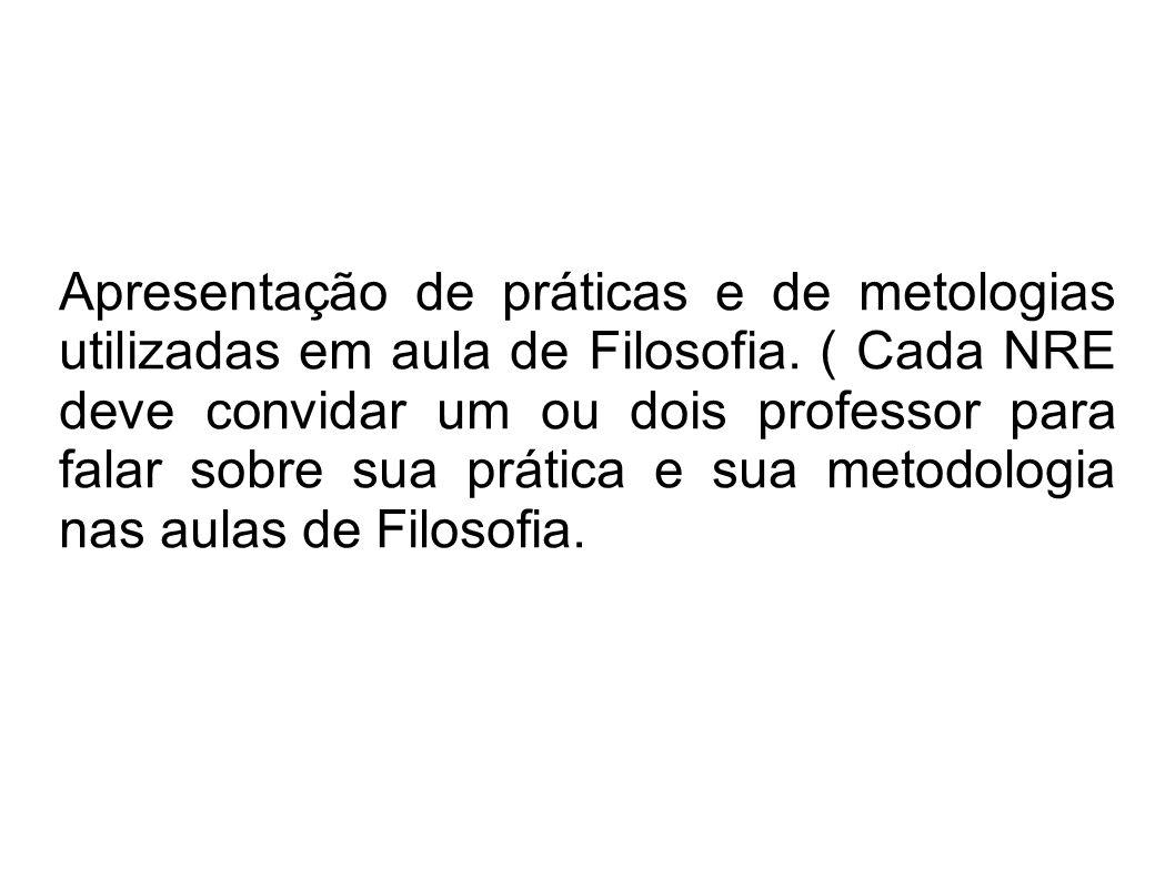 Apresentação de práticas e de metologias utilizadas em aula de Filosofia.
