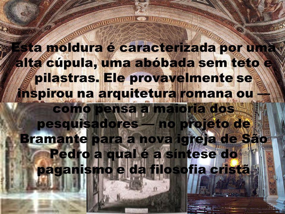 Esta moldura é caracterizada por uma alta cúpula, uma abóbada sem teto e pilastras.