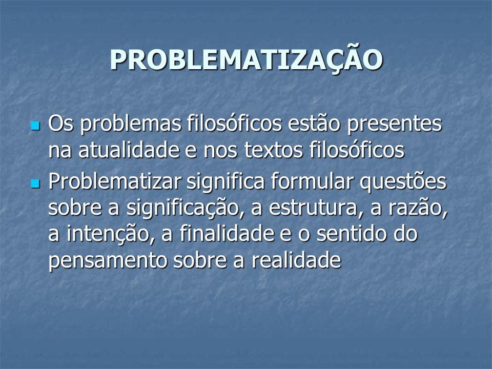 PROBLEMATIZAÇÃO Os problemas filosóficos estão presentes na atualidade e nos textos filosóficos.