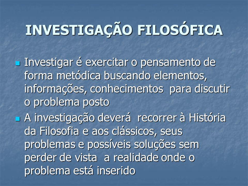 INVESTIGAÇÃO FILOSÓFICA