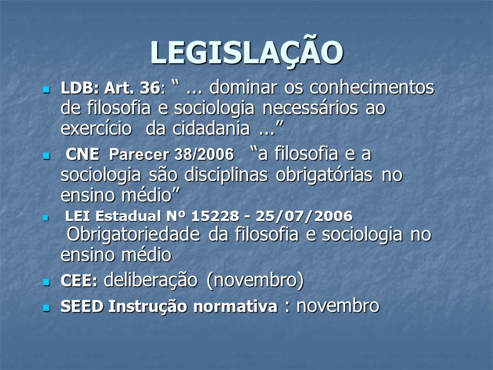 LEGISLAÇÃO LDB: Art. 36: ... dominar os conhecimentos de filosofia e sociologia necessários ao exercício da cidadania ...