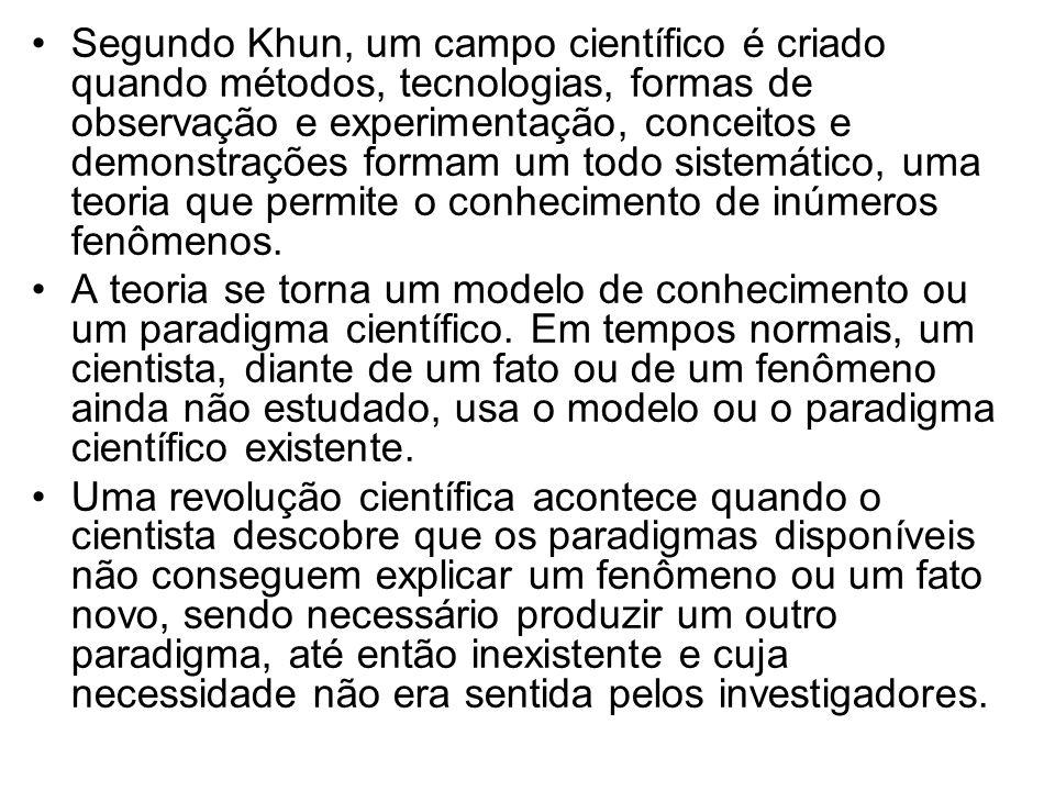 Segundo Khun, um campo científico é criado quando métodos, tecnologias, formas de observação e experimentação, conceitos e demonstrações formam um todo sistemático, uma teoria que permite o conhecimento de inúmeros fenômenos.