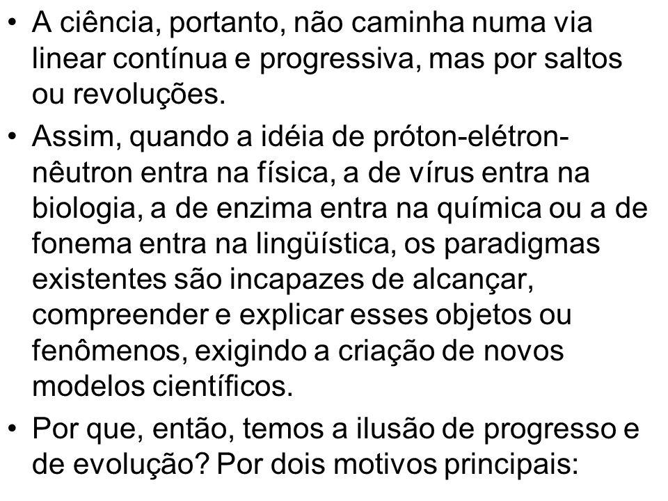 A ciência, portanto, não caminha numa via linear contínua e progressiva, mas por saltos ou revoluções.