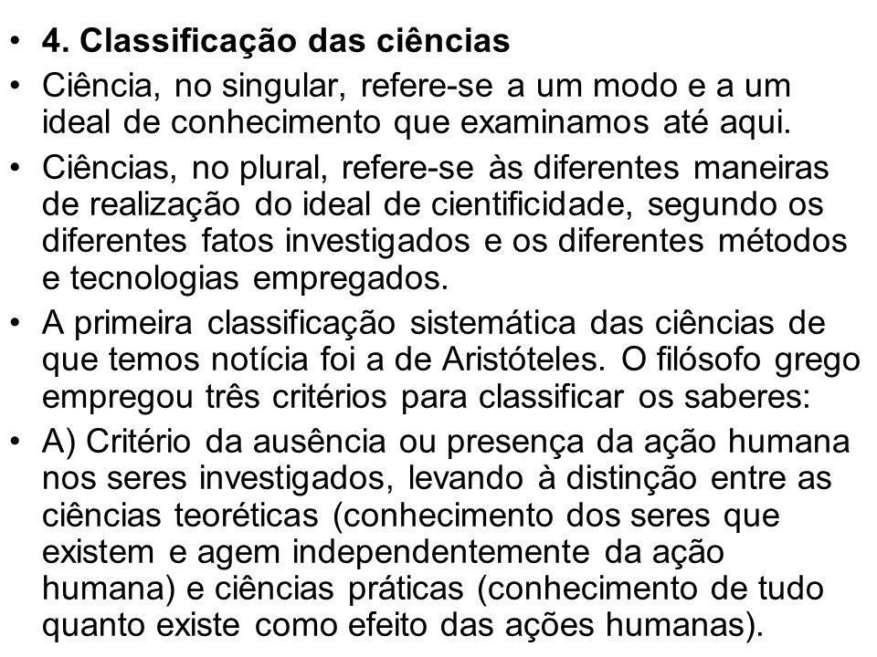 4. Classificação das ciências