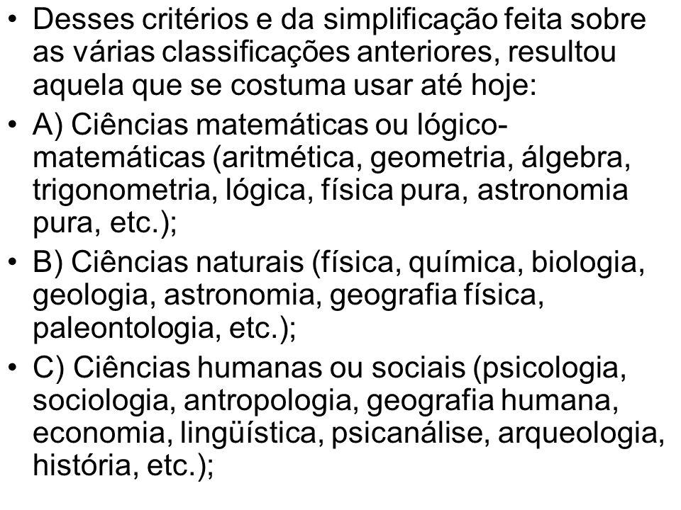 Desses critérios e da simplificação feita sobre as várias classificações anteriores, resultou aquela que se costuma usar até hoje:
