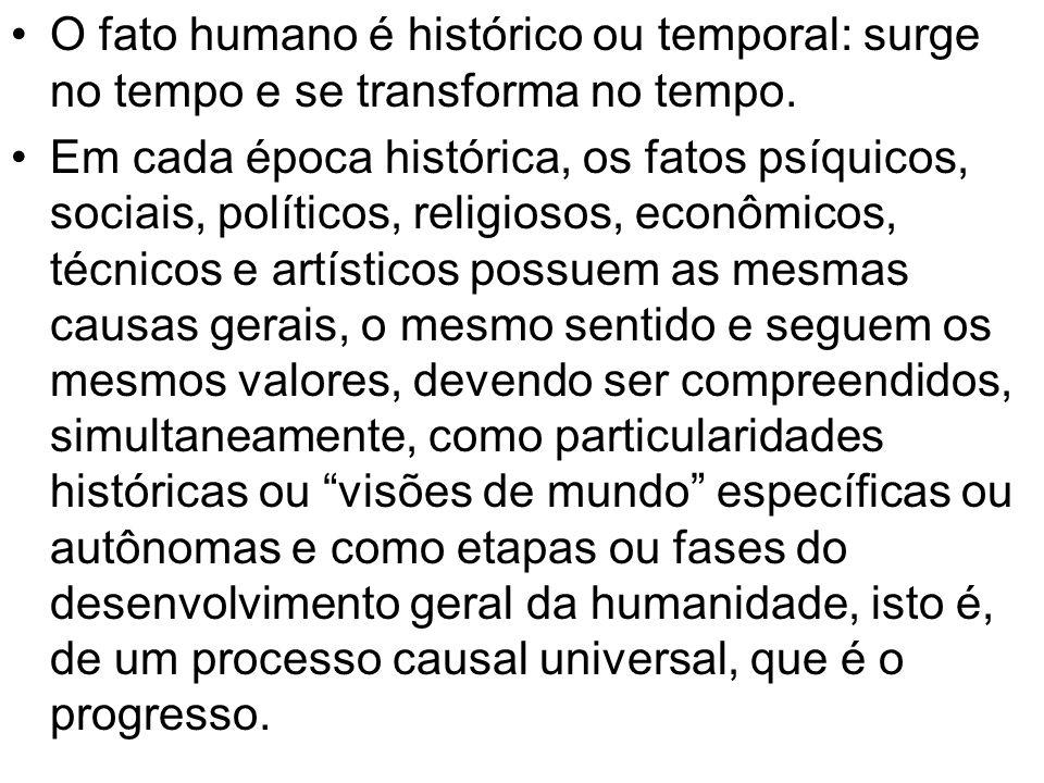 O fato humano é histórico ou temporal: surge no tempo e se transforma no tempo.