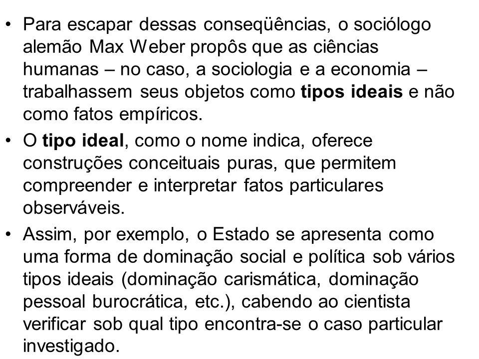 Para escapar dessas conseqüências, o sociólogo alemão Max Weber propôs que as ciências humanas – no caso, a sociologia e a economia – trabalhassem seus objetos como tipos ideais e não como fatos empíricos.