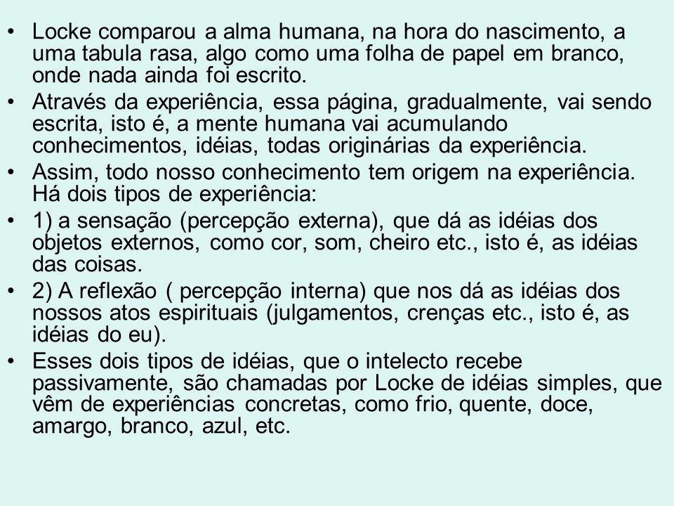 Locke comparou a alma humana, na hora do nascimento, a uma tabula rasa, algo como uma folha de papel em branco, onde nada ainda foi escrito.