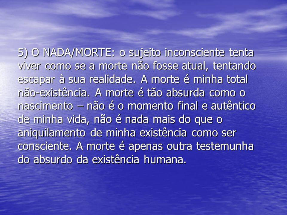 5) O NADA/MORTE: o sujeito inconsciente tenta viver como se a morte não fosse atual, tentando escapar à sua realidade.
