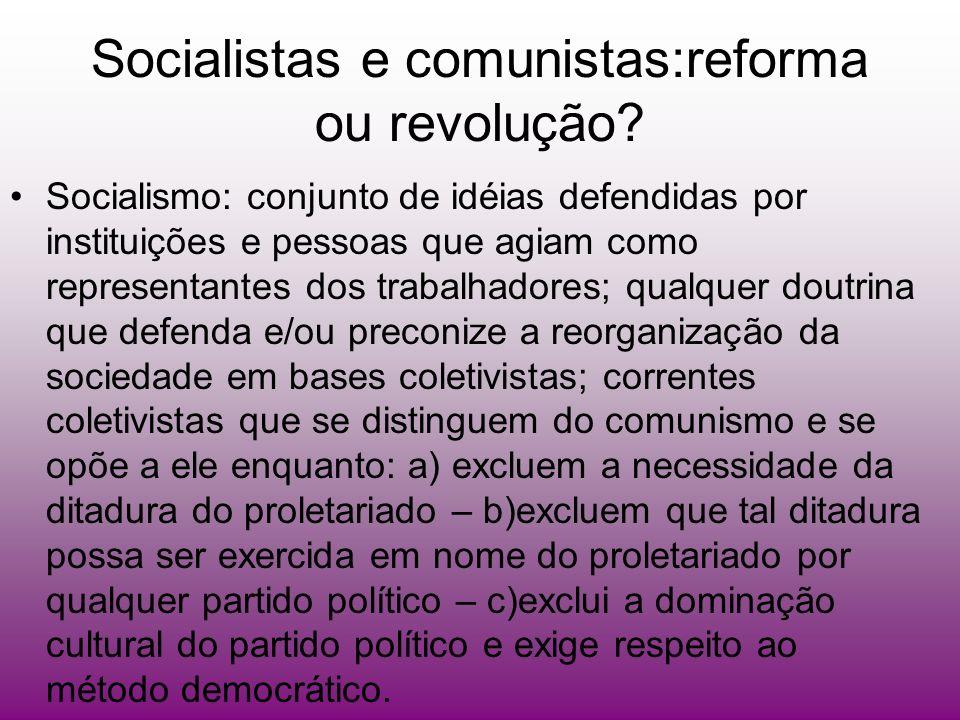 Socialistas e comunistas:reforma ou revolução