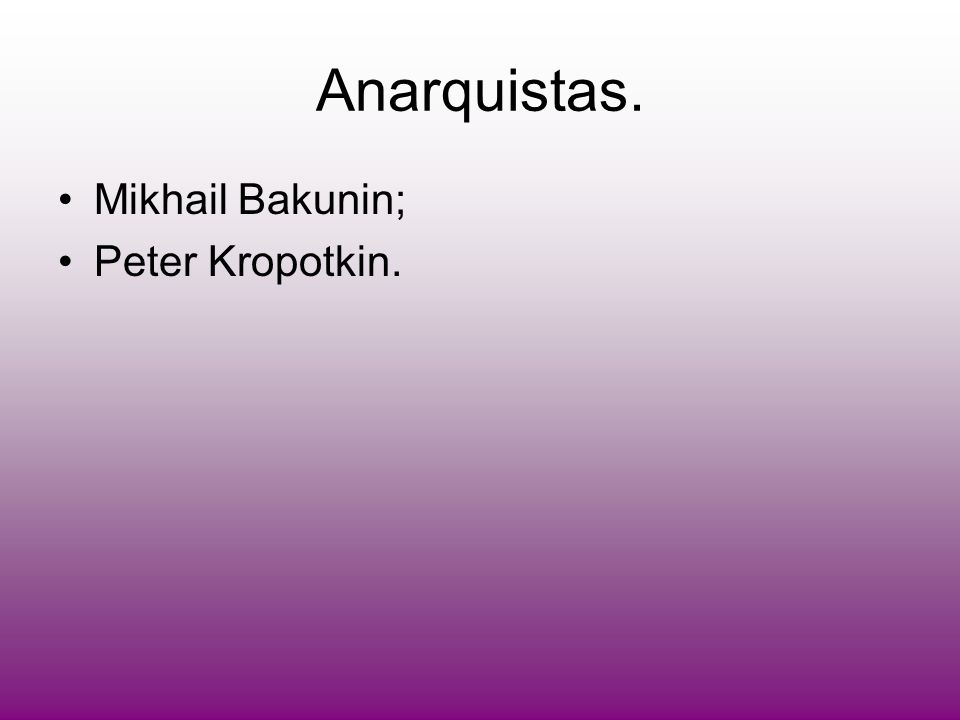 Anarquistas. Mikhail Bakunin; Peter Kropotkin.
