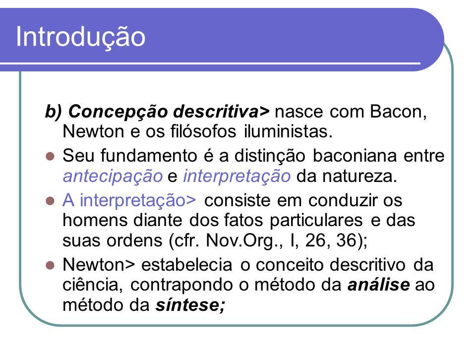 Introdução b) Concepção descritiva> nasce com Bacon, Newton e os filósofos iluministas.