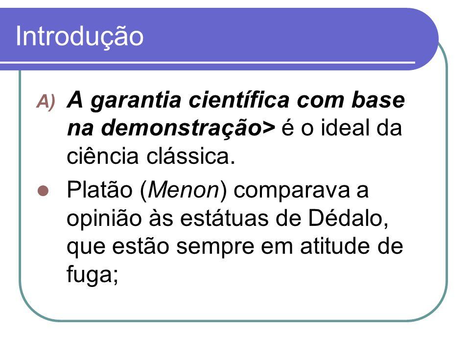Introdução A garantia científica com base na demonstração> é o ideal da ciência clássica.